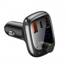 TRANSMITER FM BLUETOOTH 5.0 ŁS PPS Quick Charge QC4.0 Power Delivery USB Typ C/micro SD 5A 36W CCTM-B01 BASEUS CZARNY